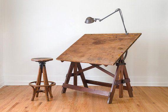 Vintage Keuffel & Esser Cast Iron & Wood Drafting Table Steampunk Easel  #Table #KeuffelEsser