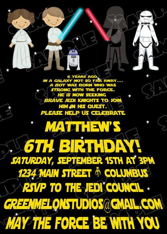 Star Wars Scroll Jedi Birthday Party Printable Invitations UPrint Customized Card By Greenmelonstudios