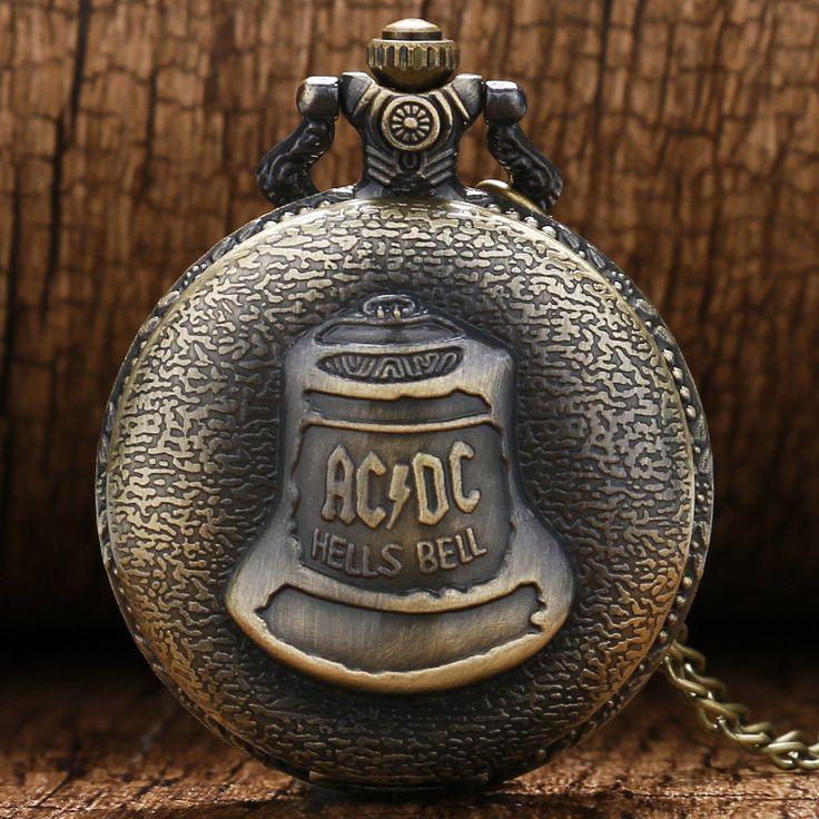 Antique Watches Steampunk Hells Bell Pattern Icon Bronze Retro Quartz Pocket Watch Necklace Chain jewelry Watch for men women