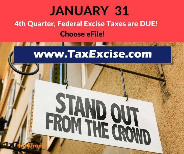 #Time is running out to #Efile your 2017 #fourthQuarter #Form720 #Quarterly #Federal #ExciseTax #January31st 2018 is the #duedate to #file this #TaxReturn http://blog.thinktradeinc.com/form-720-quarterly-excise-tax-return-for-4th-quarter-of-2017-is-due-now/