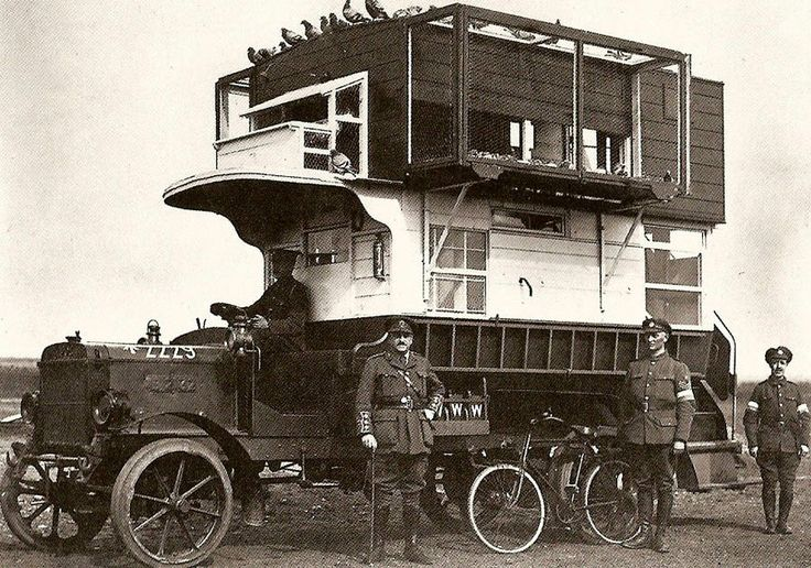 """During the World War I specially trained homing pigeons delivered messages from the front... right to this bus, drafted by the British Army. """"A B-type bus from London converted into a pigeon loft for use in Northern France and Belgium during the Great War."""""""