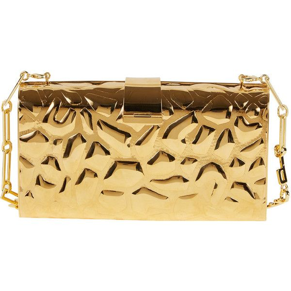 Edie Parker Rebekah Metal Giraffe-Pattern Clutch Bag ($1,295) ❤ liked on Polyvore featuring bags, handbags, clutches, bolsa, edie parker, gold, metal purse, chain handle handbags, edie parker handbags and beige clutches