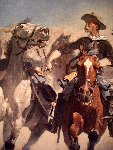 Frederic Remington: Dismounted--The Fourth Trooppers Moving the Led Horses (1890)