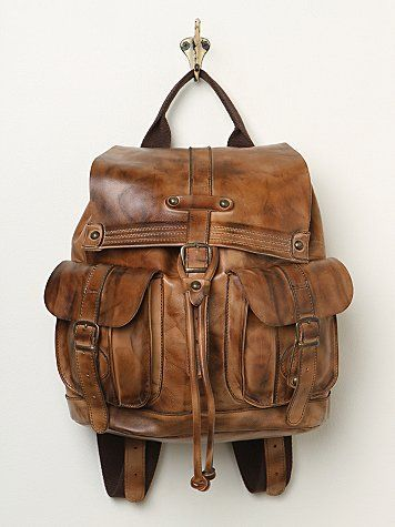 Brown leather bag, backpack