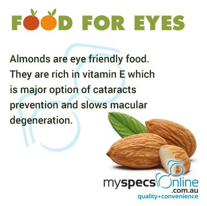 Almonds are rich source of vitamin E which helps in improving eye sight.
