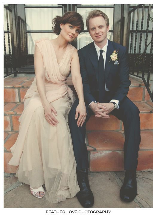 emily deschanel & david hornsby wedding shot by Feather Love Photography