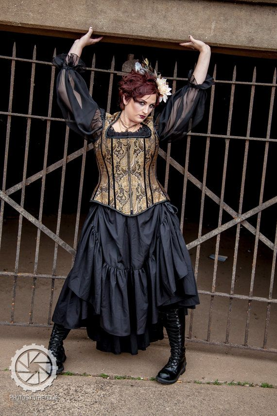 Plus Size Steampunk Skirt with Bustle Pulls in by KMKDesignsllc