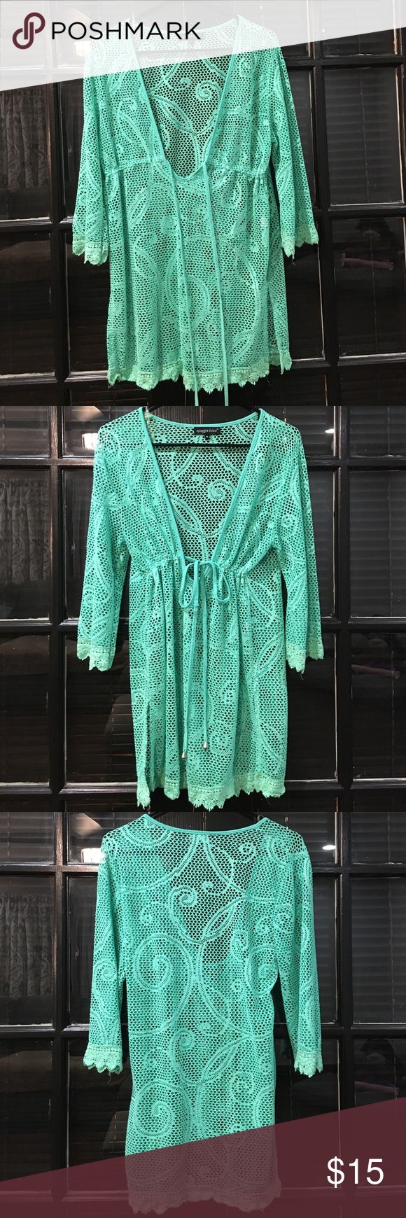 Netted Bathing Suit Coverup Mint green cover up that is perfect for the beach or pool! Worn on vacation over bathing suit to walk on beach and through resort. No trades please! Spiaggia Dolce Swim Coverups