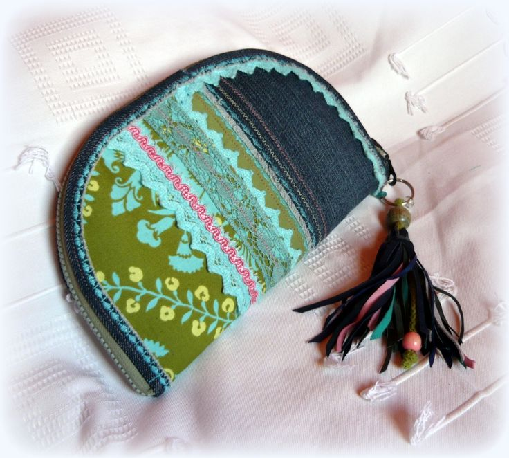 Handmade by Judy Majoros - Denim  turquoise-fringe -crochet wallet-clutch with multicolour leather fringe. Recycled wallet-bag.