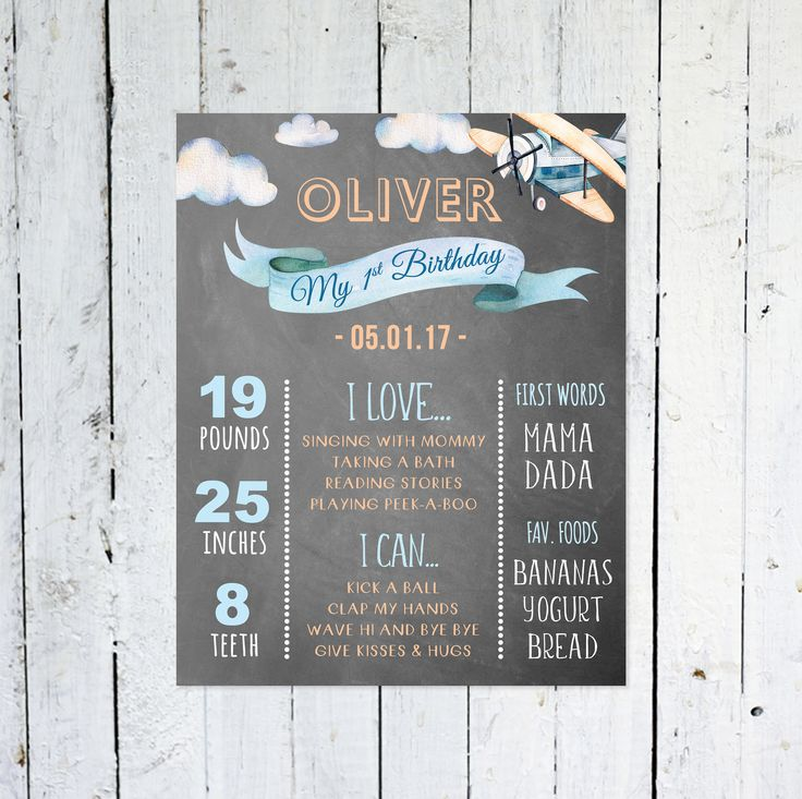 First Birthday Chalkboard Sign, Vintage Airplane, First Birthday Poster, Customized 1st Birthday Sign, Personalized, Blue, Orange by vocatio on Etsy https://www.etsy.com/ca/listing/575799276/first-birthday-chalkboard-sign-vintage
