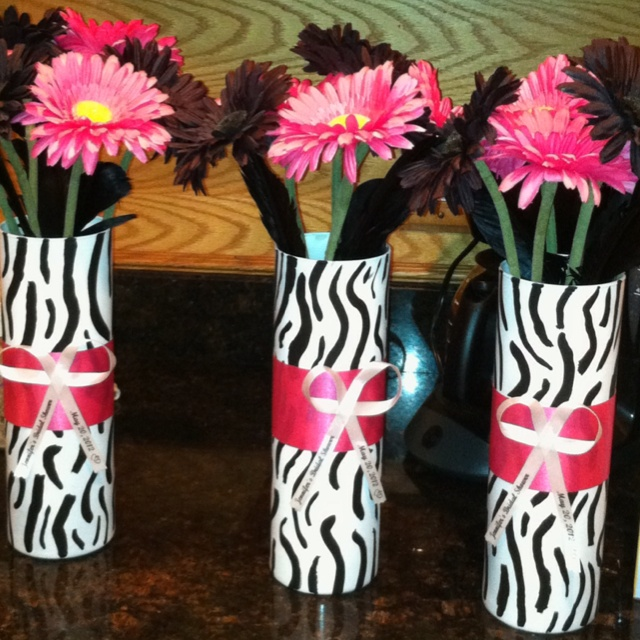 Zebra print n hot pink bridal shower centerpieces my for Animal print party decoration ideas