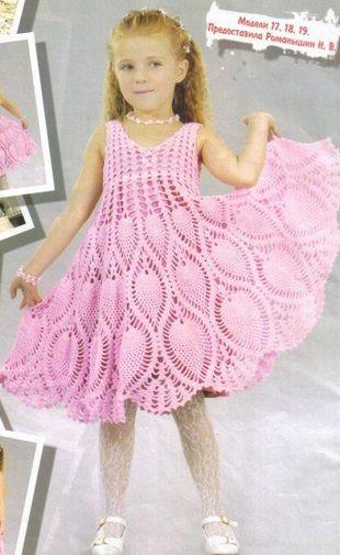 Вязание ажурного детского платья