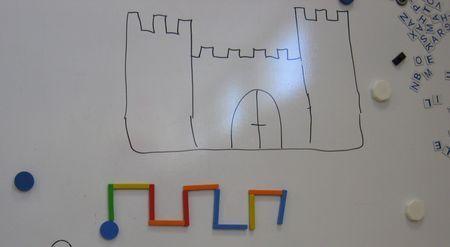 Je leur montre ensuite qu'il existe une autre ligne pour laquelle on fait toujours pareil : les créneaux du château fort .    ( cette ligne n'était pas sortie spontanément des essais des enfants )    Et de le dessiner...et de le faire en baguettes mousse.