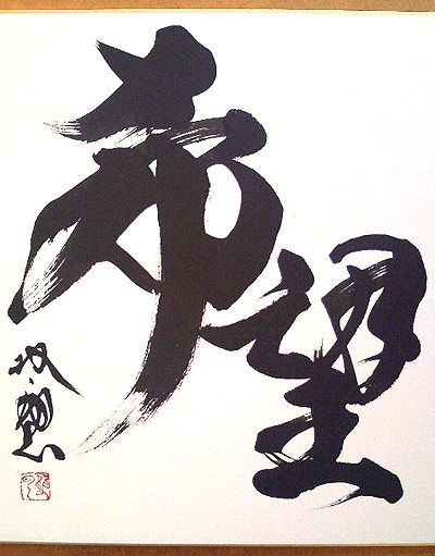 """Calligraphy """"Hope"""" 希望 by Souun TAKEDA, Japan #shodo #calligraphy #ChineseCalligraphy #Brushpainting #ChineseArt #JapaneseArt"""