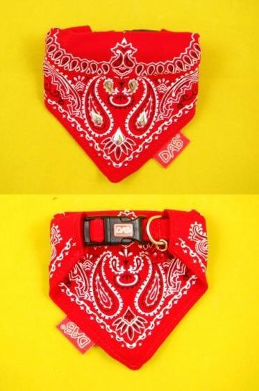 Bandana dog collar - sew over one edge of the bandana, slip in collar