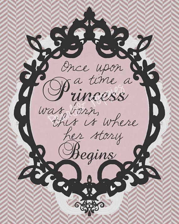 Nursery art baby girl princess storybook pink by PearlsAndPoppies, $25.00 (lol or I could paint this myself as a mural for $2.50)