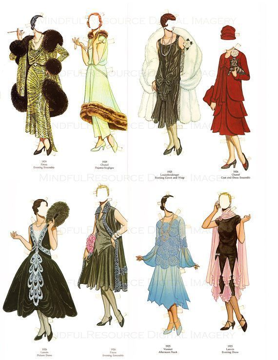 Flapper 1920s Fashion Paper Dolls Printable Vintage Dolls Art Deco 30 Dresses Pa…