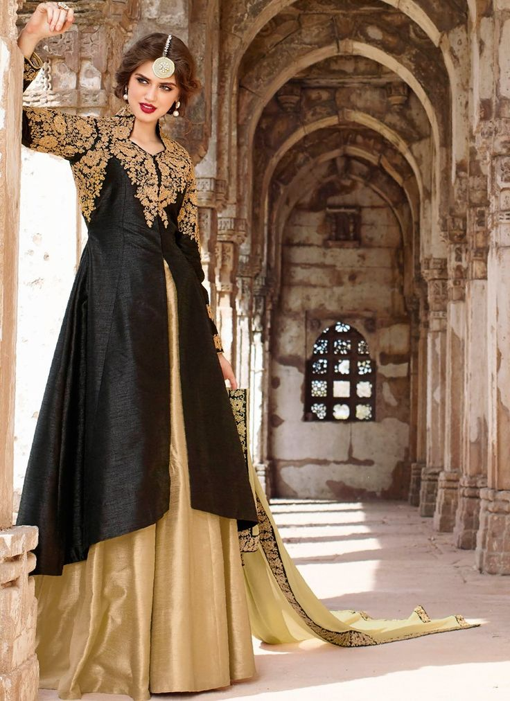 Lovely Black and Beige Long Embroidered Lehenga
