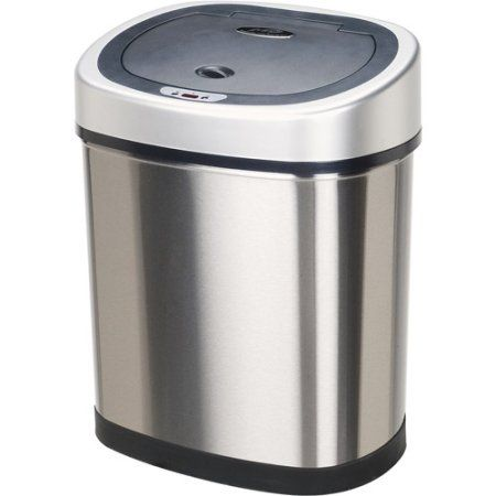 nine stars motion sensor oval touchless 11gallon trash can gray