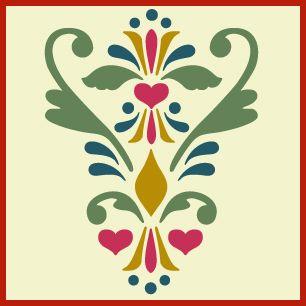 rosemaling pattern 10 stencil, Swedish kurbits, Norwegian decorative painting