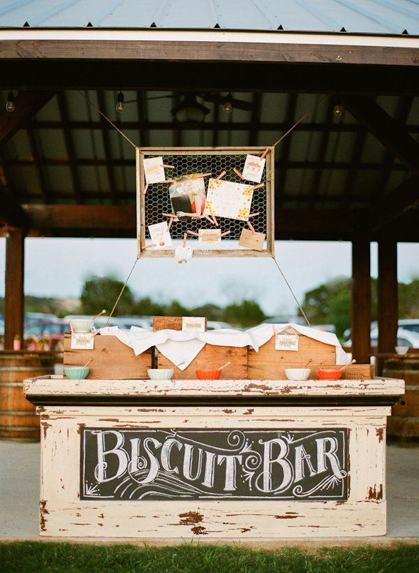 biscuit bar at a cheerful Texas wedding by Lavender Joy Weddings with photos by Taylor Lord Photography | via junebugweddings.com