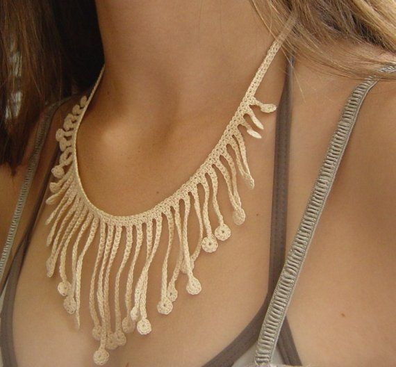 Necklace, Crocheted in Cream