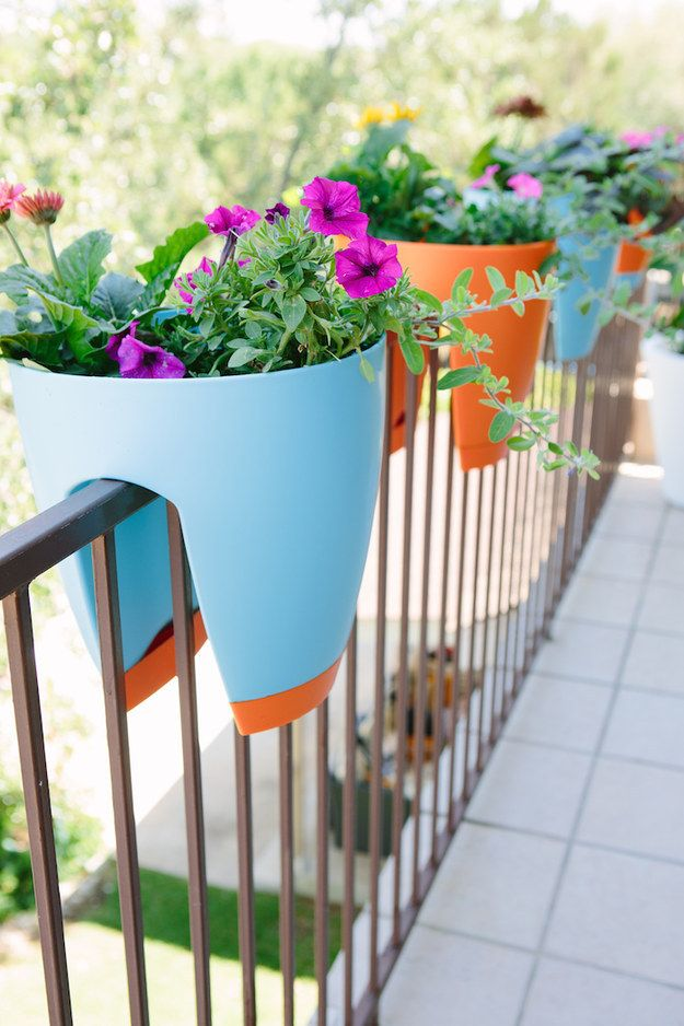 Or get railing planters. | 19 Genius Ways To Turn Your Tiny Outdoor Space Into A Relaxing Nook