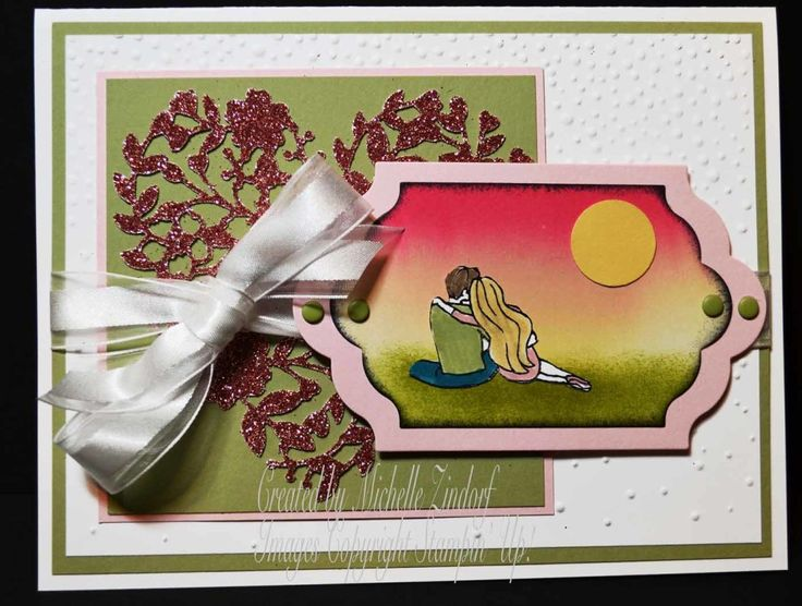 Sunset Love Card created by Michelle Zindorf with Stampin' Up! Products - Beautiful Ride Stamp set and Blooming' Heart Thinlits Dies