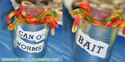Fish theme baby shower decor; gummy worms for fish theme 6 year old party; snacks and party favor