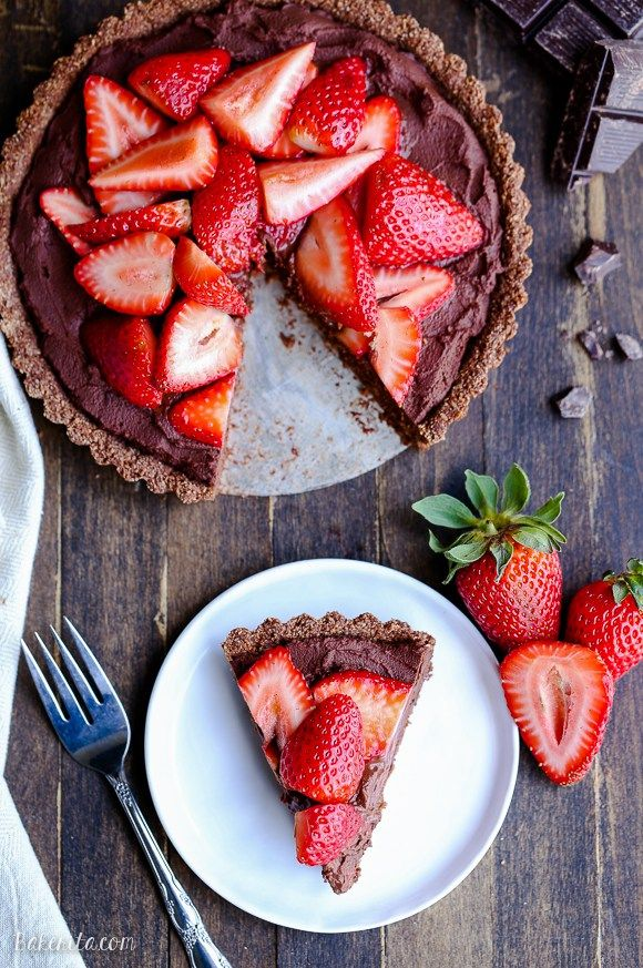 This Strawberry Chocolate Tart is filled with whipped vegan chocolate ganache…