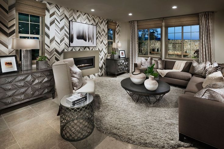 Contemporary Living Room with California Cozy Solid Silver Shag Rug (8'6 Round), interior wallpaper, limestone tile floors