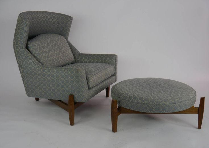 """Rare Jens Risom """"Big Chair"""" with Ottoman 
