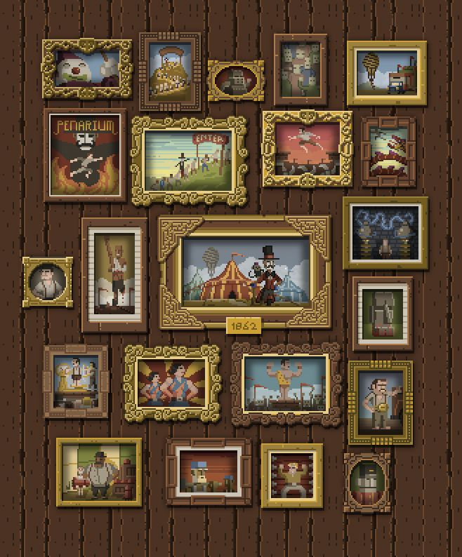 You complete puzzles for a museam/art gallery ? OR You play with a main old character, and you discover his life/memories with images (puzzles)