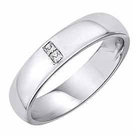 Obrączka Ślubna z diamentami Staviori Obrączka.  2 Diamenty, szlif princessa, masa 0,05 ct., barwa H, czystość SI2.  Białe Złoto 0,585. Szerokość 4 mm. Grubość 1,5 mm.  Dostępne inne kolory złota.