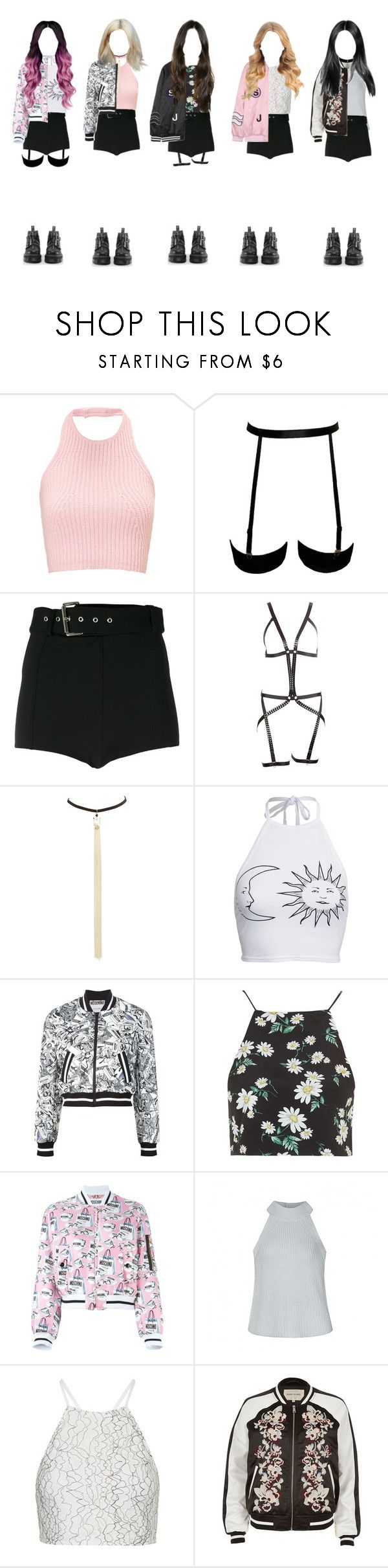 """""""Blackpink"""" by moonbowlmeryemila ❤ liked on Polyvore featuring Versus, I.D. SARRIERI, Charlotte Russe, Boohoo, Moschino, Topshop, Ally Fashion, River Island, SJYP and Dr. Martens"""