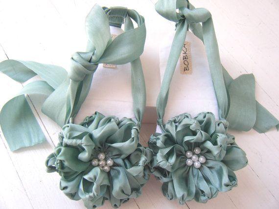 Silk Ribbon Flower Sandal 'Persephone' Shoe For Baby by BobkaBaby