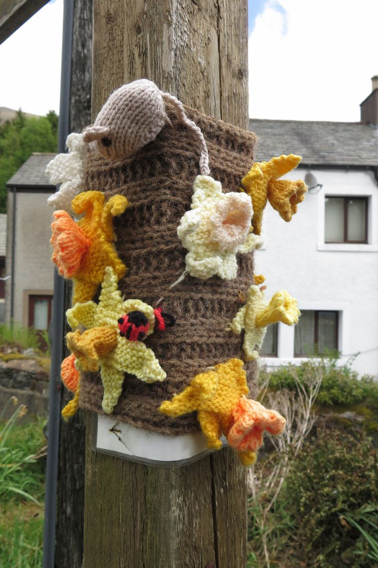 Guerilla knitting, telephone pole, Threlkeld, the Lake District