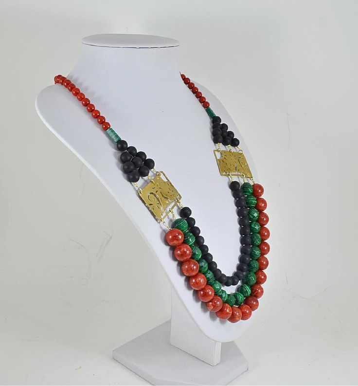 Onyx Corall and Malchite on a handmade necklace