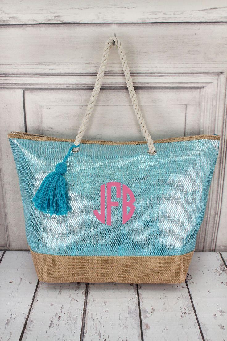 Metallic Turquoise and Jute Tote Bag with Tassel #B554-TRQ