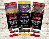 Football Ticket Invitations Alabama Ravens Razorbacks LSU Saints Cowboys Any Team You Want