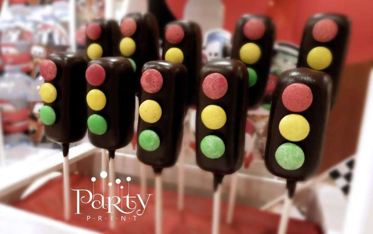 Stop light pops at a Disney's Cars birthday party! See more party planning ideas at CatchMyParty.com!