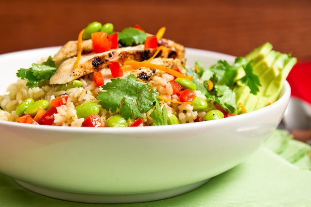 Light Citrus Chicken with Edamame and Brown Rice by foodiebride- Easy, cheap, and yummy!
