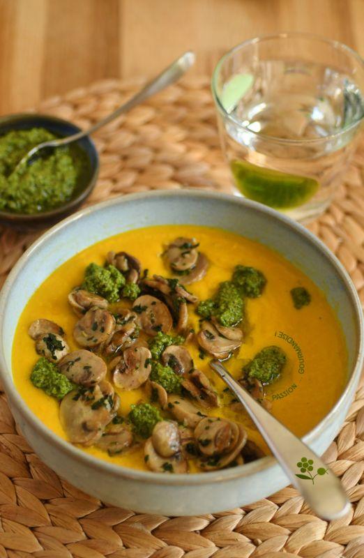 Velouté carottes, champignons & pesto de roquette_3