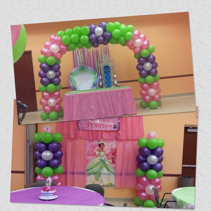 princess and the frog baby shower balloon arch and balloon column