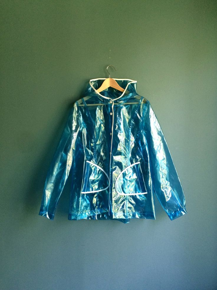 90s blue plastic transparent raincoat  u2206 90s rave clothing  u2206 transparent rain jacket  u2206 clear