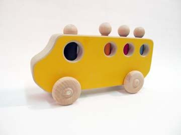 School bus with four riders. Interactive wood toy, by Patrick Donovan $25.00, via Etsy.