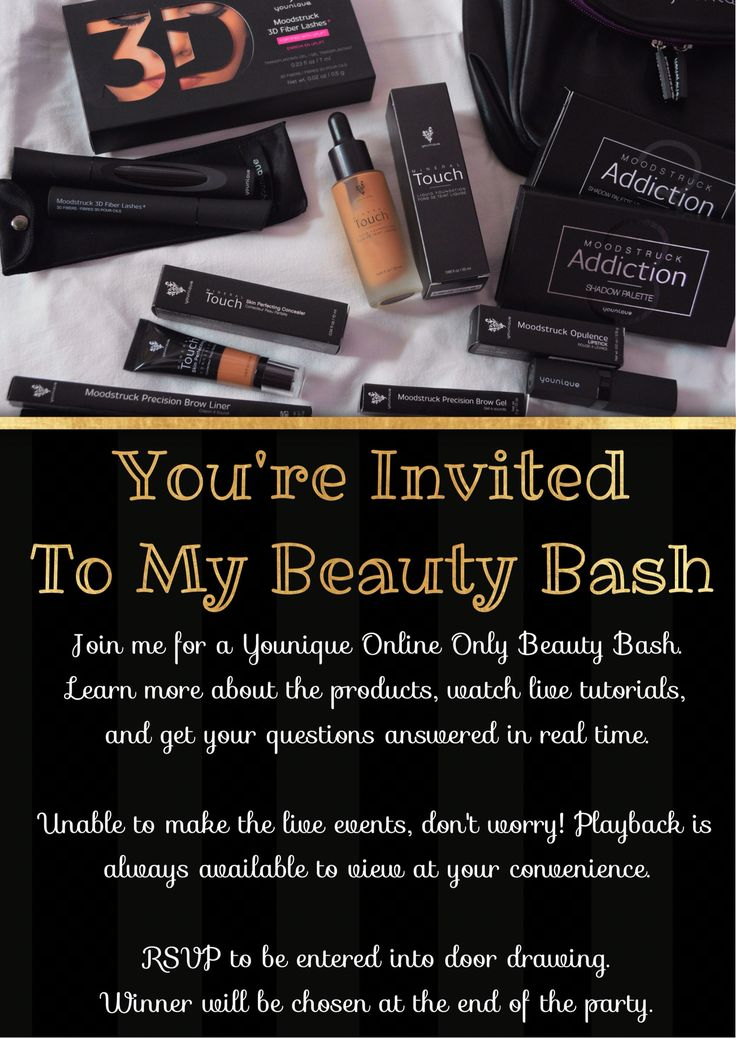 Younique Party Invitation. Hostess Invite. Event Invite. Beauty Bash. Online Only.