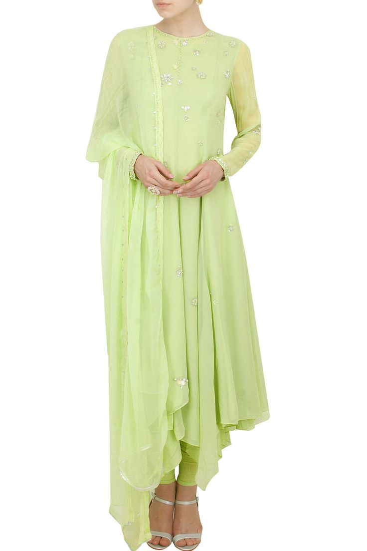 AM:PM by Ankur Modi and Priyanka Modi presents Apple green anarkali set.