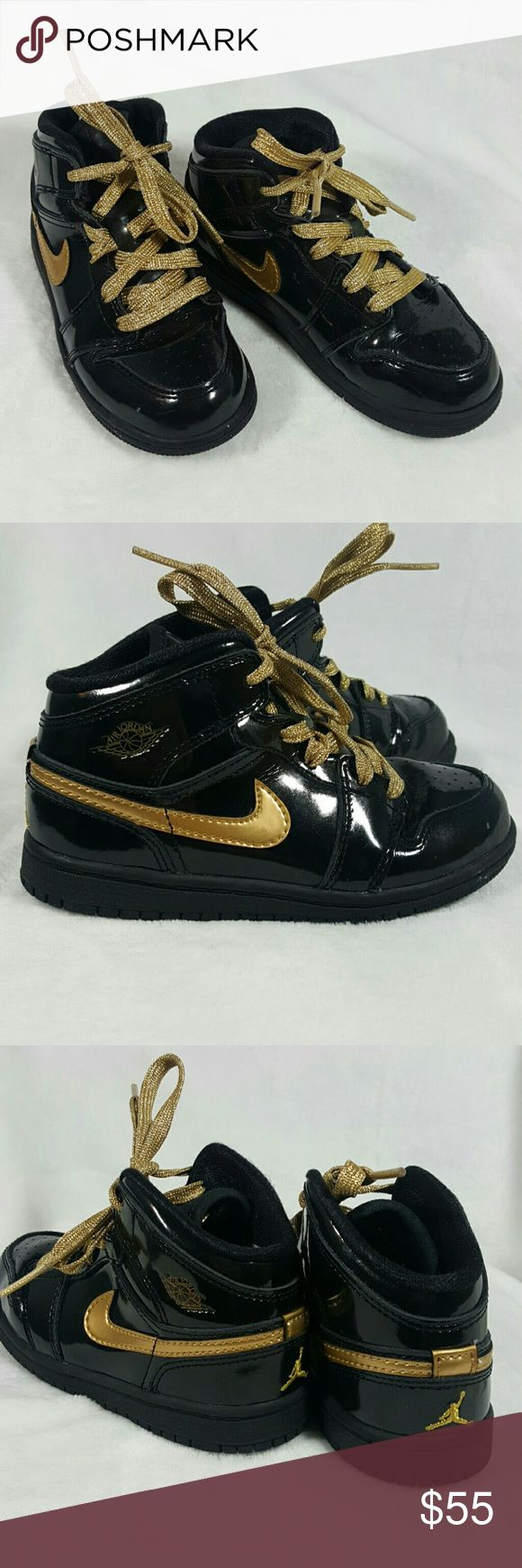 Black and Gold Patent Leather Air Jordan Shoes So cute!!!  Size 10C In great condition  Very clean  Worn only a couple of times.  Authentic Jordan Shoes Sneakers