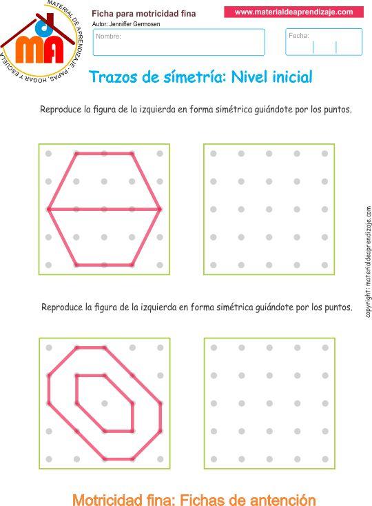 Ejercicio 8: Actividadesescolares de trazos de simetría paradesarrollar la memoria y la atencióncon los niños. Actividades a realizar: Copia las formas g